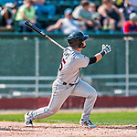 4 September 2017: Tri-City ValleyCats infielder Kyle Davis watches the trajectory of his solo home run in the 4th inning during the first game of a double-header against the Vermont Lake Monsters at Centennial Field in Burlington, Vermont. The ValleyCats split their games, winning 6-5 in the first, then dropping the second 7-4 to the Lake Monsters in NY Penn League action. Mandatory Credit: Ed Wolfstein Photo *** RAW (NEF) Image File Available ***