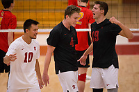 STANFORD, CA - January 2, 2018: Eric Beatty, Evan Enriques, Jacob Thoenen at Burnham Pavilion. The Stanford Cardinal defeated the Calgary Dinos 3-1.