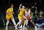 SIOUX FALLS, SD - MARCH 8: Uju Ezeudu #24 of the Denver Pioneers pivots and dives to the basket against Olivia Skibiel #23 of the North Dakota State Bison at the 2020 Summit League Basketball Championship in Sioux Falls, SD. (Photo by Richard Carlson/Inertia)