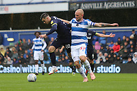 Tom Lawrence of Derby County and Toni Leistner of Queens Park Rangers during Queens Park Rangers vs Derby County, Sky Bet EFL Championship Football at Loftus Road Stadium on 6th October 2018