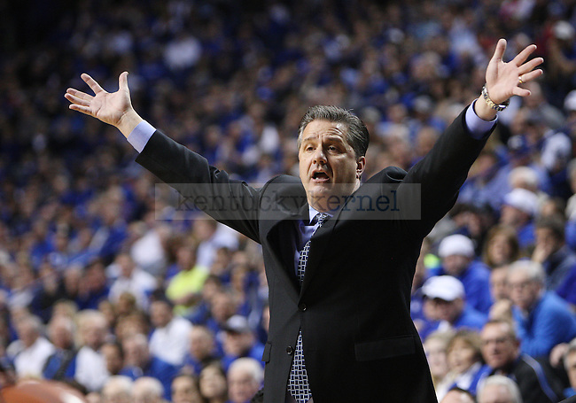Kentucky head coach John Calipari reacts to a play during the first half of UK Men's Basketball vs. Ole Miss at Rupp Arena in Lexington, Ky., on Tuesday, February 4, 2014. Photo by Emily Wuetcher | Staff