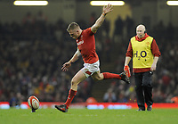 Wales Gareth Anscombe kicks a penalty<br /> <br /> Photographer Ian Cook/CameraSport<br /> <br /> 2018 NatWest Six Nations Championship - Wales v Italy - Sunday 11th March 2018 - Principality Stadium - Cardiff<br /> <br /> World Copyright &copy; 2018 CameraSport. All rights reserved. 43 Linden Ave. Countesthorpe. Leicester. England. LE8 5PG - Tel: +44 (0) 116 277 4147 - admin@camerasport.com - www.camerasport.com