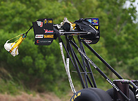 Apr 21, 2018; Baytown, TX, USA; Detailed view of the rear wing on the dragster of NHRA top fuel driver Doug Kalitta during qualifying for the Springnationals at Royal Purple Raceway. Mandatory Credit: Mark J. Rebilas-USA TODAY Sports