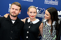 From left, director Brady Corbet, co-writer Mona Fastvold and actress Stacy Martin attend the photocall for the movie 'The Childhood Of A Leader' during the 72nd Venice Film Festival at the Palazzo Del Cinema in Venice, Italy, September 5. <br /> UPDATE IMAGES PRESS/Stephen Richie