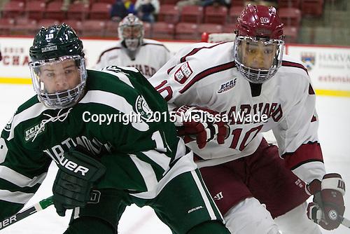 John Ernsting (Dartmouth - 19), Brayden Jaw (Harvard - 10) - The Harvard University Crimson defeated the Dartmouth College Big Green 5-2 to sweep their weekend series on Sunday, November 1, 2015, at Bright-Landry Hockey Center in Boston, Massachusetts. -
