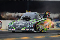 Nov. 8, 2012; Pomona, CA, USA: NHRA funny car driver Alexis DeJoria during qualifying for the Auto Club Finals at at Auto Club Raceway at Pomona. Mandatory Credit: Mark J. Rebilas-