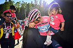 Maglia Rosa Richard Carapaz (ECU) Movistar Team with his wife and children at the end of Stage 20 of the 2019 Giro d'Italia, running 194km from Feltre to Croce d'Aune-Monte Avena, Italy. 1st June 2019<br /> Picture: Massimo Paolone/LaPresse | Cyclefile<br /> <br /> All photos usage must carry mandatory copyright credit (© Cyclefile | Massimo Paolone/LaPresse)