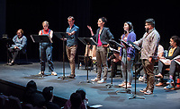 In honor of its 20th anniversary, the 2018 festival culminated with a concert reading of 20 mini scripts penned by Oxy theater alums who currently write for theater, film, television and the web. The resulting plays were performed by student and alumni actors who celebrated afterward with an after-party, Feb. 25, 2018 in Keck Theater.<br /> <br /> Alumni plays were created by Gladys Eva Angle '11, Brandon Baruch '07, Karen Baughn '08, Soren Bowie '04, Nina Carlin '15, Joe Chandler '01, Courtney Dusenberry '10, Kirsten Easton '13, Zee Echo Eskeets '07, Maricela Guardado '17, Hilly Hicks '92, Jeff Kauffmann '01, Winston A. Marshall '10, Laural Meade '88, Rachel Noll '08, Erik Patterson '00, Claudia Restrepo '10, Anne Garcia Romero '86, Marvin Solomon '00, Tristan Waldron '12.<br /> <br /> For 20 years, the Occidental New Play Festival (produced by associate professor of theatre Laural Meade '88) has paired student playwrights and actors with professional guest directors and performers. Focused on writer-centric rehearsal and performance, the festival provides a real-world experience of new play development as it is practiced on the national level. Through close collaboration with Los Angeles working artists, students experience a unique process unlike other college writing programs for the theater.<br /> (Photo by Marc Campos, Occidental College Photographer)