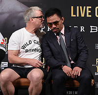 BEVERLY HILLS - MAY 22: Freddie Roach and Manny Pacquiao at the press conference for the Manny Pacquiao vs Keith Thurman Premier Boxing Champions on FOX Sports Pay-Per-View fight on July 20 in Las Vegas. (Photo by Frank Micelotta/Fox Sports/PictureGroup)