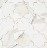 Isaac, a stone waterjet mosaic, show in polished Calacatta Gold, is part of the Semplice™ collection for New Ravenna.