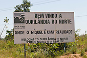 "Pará State, Brazil. Ourilândia do Norte. ""Welcome to Ourilândia do Norte, where Nickel is a reality"", in Portuguese and English."