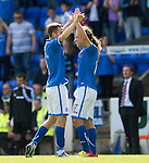 St Johnstone v Hearts...04.08.13 SPFL<br /> Stevie May celebrates his goal with Steven MacLean<br /> Picture by Graeme Hart.<br /> Copyright Perthshire Picture Agency<br /> Tel: 01738 623350  Mobile: 07990 594431
