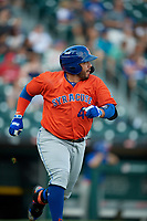 Syracuse Mets Rene Rivera (44) runs to first base after hitting a home run during an International League game against the Buffalo Bisons on June 29, 2019 at Sahlen Field in Buffalo, New York.  Buffalo defeated Syracuse 9-3.  (Mike Janes/Four Seam Images)
