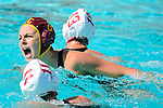 LOS ANGELES, CA - MAY 13: Denise Mammolito #8 of the University of Southern California reacts after scoring the go-ahead goal during the Division I Women's Water Polo Championship held at the Uytengsu Aquatics Center on the USC campus on May 13, 2018 in Los Angeles, California. USC defeated Stanford 5-4. (Photo by Tim Nwachukwu/NCAA Photos via Getty Images)
