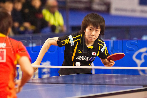 29.01.2011 English Open ITTF Pro Tour Table Tennis from the EIS in Sheffield. Xiaoxia Li of China plays Kasumi Ishikawa of Japan
