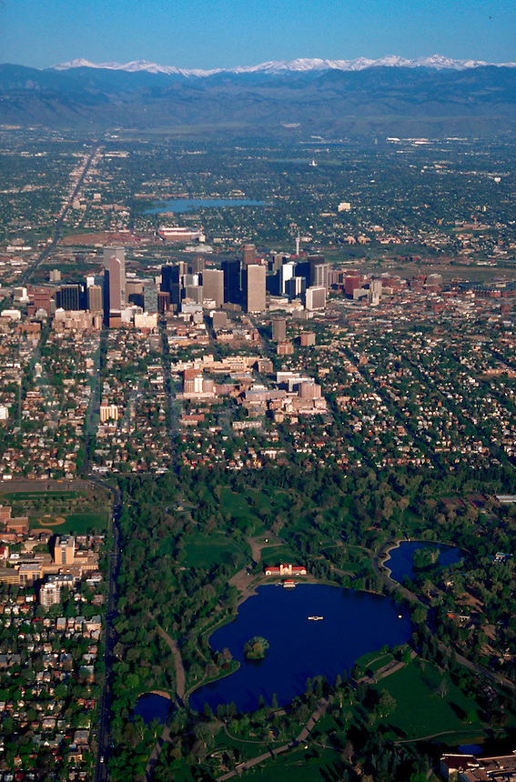 Aerial of City Park in downtown Denver. Colorado.