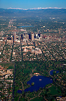 Aerial of City Park in downtown Denver. Colorado.