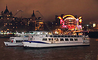 Charing Cross station lit up at night, seen from across the River Thames. London on Saturday February 10th 2018<br /> CAP/ROS<br /> &copy;ROS/Capital Pictures
