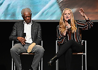 """LOS ANGELES - JUNE 5:  Morgan Freeman and Lori McCreary attend an FYC event for National Geographic's """"The Story of God"""" at the TV Academy on June 5, 2019 in Los Angeles, California. (Photo by Scott Kirkland/National Geographic/PictureGroup)"""