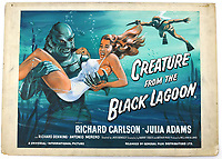 BNPS.co.uk (01202 558833)<br /> Pic: Ewbanks/BNPS<br /> <br /> Creature From the Black Lagoon - Est £4000.<br /> <br /> Original Artists...<br /> <br /> Unique hand-painted artwork for classic movie posters from the halcyon days of the silver screen have been uncovered.<br /> <br /> The 150 designs were produced by W. E. Berry Ltd of Bradford, West Yorks, who were industry leaders in poster design for more than 75 years.<br /> <br /> Included in the sale are posters advertising British classic movies like Carve Her Name With Pride, The Titfield Thunderbolt and The Ladykillers.<br /> <br /> They belong to the family of William Edward Berry but they have now made them available for sale for the first time. The are expected to sell for £10,000.