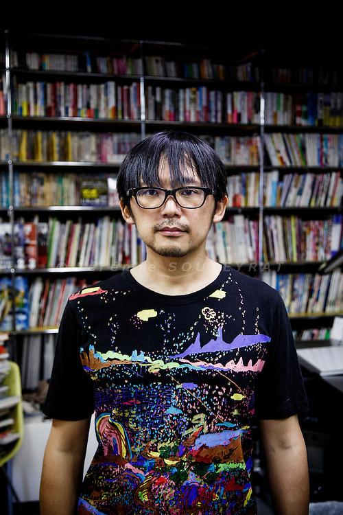 Tokyo, June 14 2013 - Portrait of the mangaka Kengo HANAZAWA at his studio.