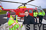 Derek Rowe with Kerry Mountain rescue and supporters at the arrival of the new Air Ambulance at Tralee General hospital on Tuesday.