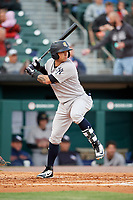 Scranton/Wilkes-Barre RailRiders second baseman L.J. Mazzilli (3) at bat during a game against the Buffalo Bisons on May 18, 2018 at Coca-Cola Field in Buffalo, New York.  Buffalo defeated Scranton 5-1.  (Mike Janes/Four Seam Images)