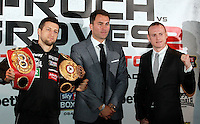 Press Conference at Wembley stadium.<br />  Boxers Carl Froch (L) George Groves ( R ) and promoter Eddie Hearn (C ) ahead of there rematch fight on Saturday night with a sell out 80.000 audience. London, United Kingdom. Thursday, 29th May 2014. Picture by Sean Dempsey / i-Images