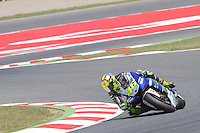 16.06.2013 Barcelona, Spain. Aperol Grand Prix of Catalonia. Picture show  Valentino Rosi (Yamaha) in action during Moto GP Racing  at Circuit de Catalunya