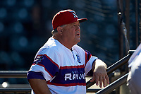 Winston-Salem Rayados coach Tommy Thompson (40) watches the action from the dugout during the game against the Lynchburg Hillcats at BB&T Ballpark on June 23, 2019 in Winston-Salem, North Carolina. The Hillcats defeated the Rayados 12-9 in 11 innings. (Brian Westerholt/Four Seam Images)