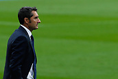 1st October 2017, Camp Nou, Barcelona, Spain; La Liga football, Barcelona versus Las Palmas; Ernesto Valverde of FC Barcelona focused in his team as the game is played behind closed doors due to the riots in Barcelona during the Catlaonio referendum