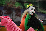 Kaohsiung, Taiwan -- Traditional Taiwanese hand puppet theater performance at a roadside park in Kaohsiung.