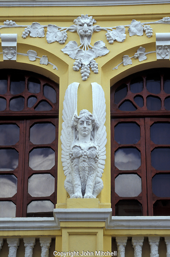 Architectural detail of restored Spanish colonial building in old Quito, Ecuador. Old Quito was made a UNESCO World Heritage Site in 1978.