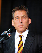 Ashburn, VA - February 27, 2009 -- Washington Redskins head coach Jim Zorn introduces Albert Haynesworth, a 6 foot, 6 inch, 320 pound defensive tackle formerly with the Tennessee Titans meets reporters at Redskins Park in Ashburn, Virginia after signing a 100 million dollar contract with the Washington Redskins on Friday, February 27, 2009.  Since he came into the NFL in 2002, Haynesworth has posted 271 tackles (199 solo) and 24 quarterback sacks.  He was elected to the Pro Bowl following the 2007 and 2008 seasons..Credit: Ron Sachs / CNP