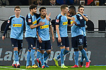 15.02.2020, Merkur Spiel-Arena, Duesseldorf, GER, 1. BL, Fortuna Duesseldorf vs. Borussia Moenchengladbach, DFL regulations prohibit any use of photographs as image sequences and/or quasi-video<br /> <br /> im Bild / picture shows: Florian Neuhaus (#32, Borussia Moenchengladbach) jubelt nach seinem Tor zum 1:4 mit seiner Mannschaft<br /> <br /> Foto © nordphoto/Mauelshagen