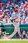 30 July 2017: Colorado Rockies outfielder Charlie Blackmon in action against the Washington Nationals at Nationals Park in Washington, DC. The Rockies defeated the Nationals 10-6 in the second game of their 3-game weekend series. Mandatory Credit: Ed Wolfstein Photo *** RAW (NEF) Image File Available ***