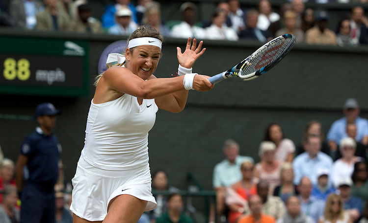 Victoria Azarenka (BLR) in action during her defeat by Serena Williams (USA) [1] in their Ladies' Singles Quarter Final match today - Serena Williams (USA) [1]def Victoria Azarenka (BLR) [23] 3-6 6-2 6-3<br /> <br /> Photographer Stephen White/CameraSport<br /> <br /> Tennis - Wimbledon Lawn Tennis Championships - Day 8 - Tuesday 7th July 2015 -  All England Lawn Tennis and Croquet Club - Wimbledon - London - England<br /> <br /> &copy; CameraSport - 43 Linden Ave. Countesthorpe. Leicester. England. LE8 5PG - Tel: +44 (0) 116 277 4147 - admin@camerasport.com - www.camerasport.com.