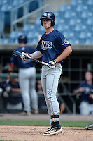 Ryan Mountcastle (15) of Hagerty High School in Winter Springs, Florida playing for the Tampa Bay Rays scout team during the East Coast Pro Showcase on July 30, 2014 at NBT Bank Stadium in Syracuse, New York.  (Mike Janes/Four Seam Images)