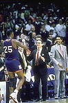 04 APRIL 1988: Kansas coach Larry Brown gives a high five to star player Danny Manning (25) during the 1988 NCAA Final Four Championship game against Oklahoma in Kansas City, MO at Kemper Arena.  Kansas defeated Oklahoma 83-79 for the title.  Photo Copyright Rich Clarkson