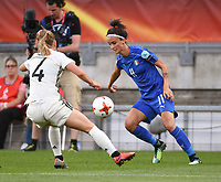 20170721 - TILBURG , NETHERLANDS : German Leonia Maier (L) and Italian Barbara Bonansea (R) pictured during the female soccer game between Germany and Italy  , the second game in group B at the Women's Euro 2017 , European Championship in The Netherlands 2017 , Friday 21 th June 2017 at Stadion Koning Willem II  in Tilburg , The Netherlands PHOTO SPORTPIX.BE | DIRK VUYLSTEKE