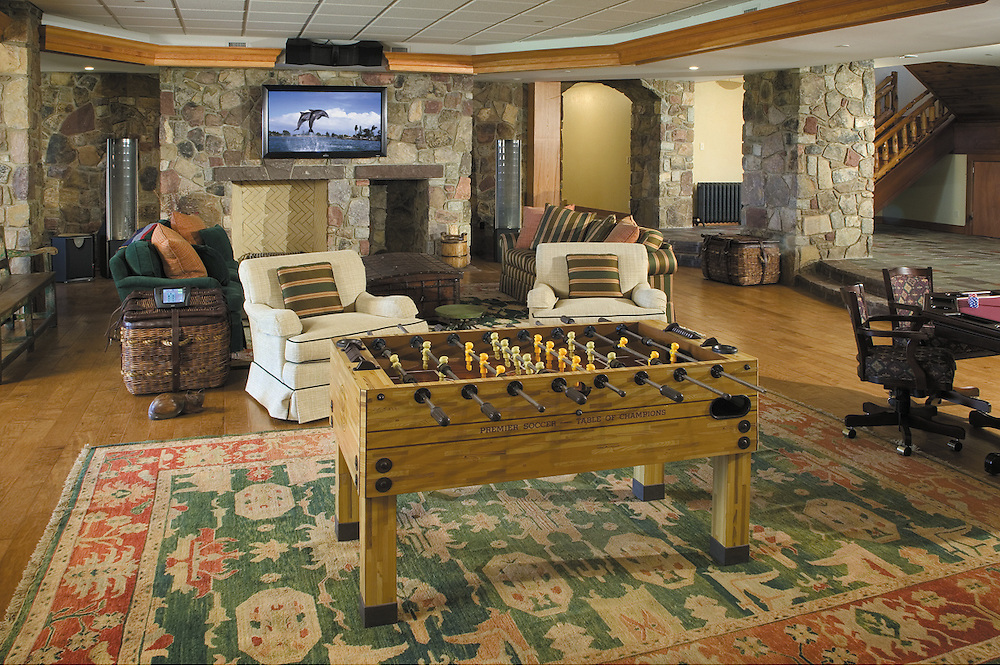 Stone Walled Entertainment Game Room