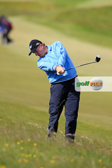 Ernie ELS (RSA) plays his 2nd shot on the 1st hole during Friday's Round 2 of the 2015 Dubai Duty Free Irish Open, Royal County Down Golf Club, Newcastle Co Down, Northern Ireland 5/29/2015<br />  Picture Eoin Clarke, www.golffile.ie