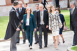 "King Felipe VI, Eduardo Mendoza Garriga and Queen Letizia during award ceremony of literature in Spanish ""Miguel de Cervantes"" at University of Alcala de Henares in Madrid., April 20, 2017. Spain.<br /> (ALTERPHOTOS/BorjaB.Hojas)"