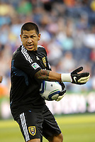 Real Salt Lake goalkeeper Nick Rimando directing his players... Sporting KC defeated Real Salt Lake 2-0 at LIVESTRONG Sporting Park, Kansas City, Kansas.