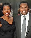 Valerie Cassel Oliver and Adrian Patterson at the Champagne & Ribs event at the Contemporary Arts Museum Thursday May 13,2010.  (Dave Rossman Photo)