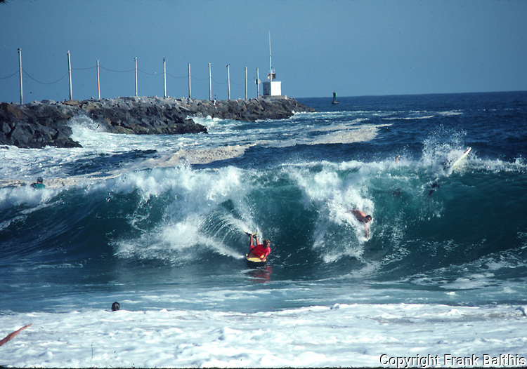 surfing the Wedge in Newport Beach