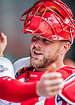 1 August 2018: Washington Nationals catcher Spencer Kieboom prepares for the start of play against the New York Mets at Nationals Park in Washington, DC. The Nationals defeated the Mets 5-3 to sweep the 2-game weekday series. Mandatory Credit: Ed Wolfstein Photo *** RAW (NEF) Image File Available ***
