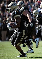 Purdue running back Keith Carlos. The Wisconsin Badgers defeated the Purdue Boilermakers 34-13 at Ross-Ade Stadium, West Lafayette, Indiana on November 6, 2010.