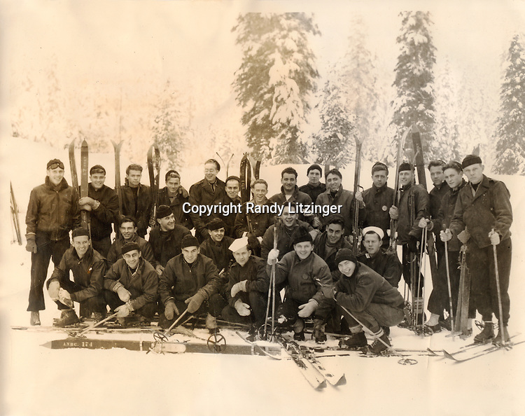 27 Shangri-La crew members skiing at Snoqualme Pass, WA after ship went to Bremerton, WA and Puget Sound, WA for repairs after WWII ended. - Dec. 22, 1945<br />