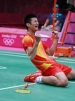 05.08.2012. London, England.  Chinas Chen Long Celebrates After Winning Mens Badminton bronze medal against Lee Hyun-il of South Korea in the bronze medal match